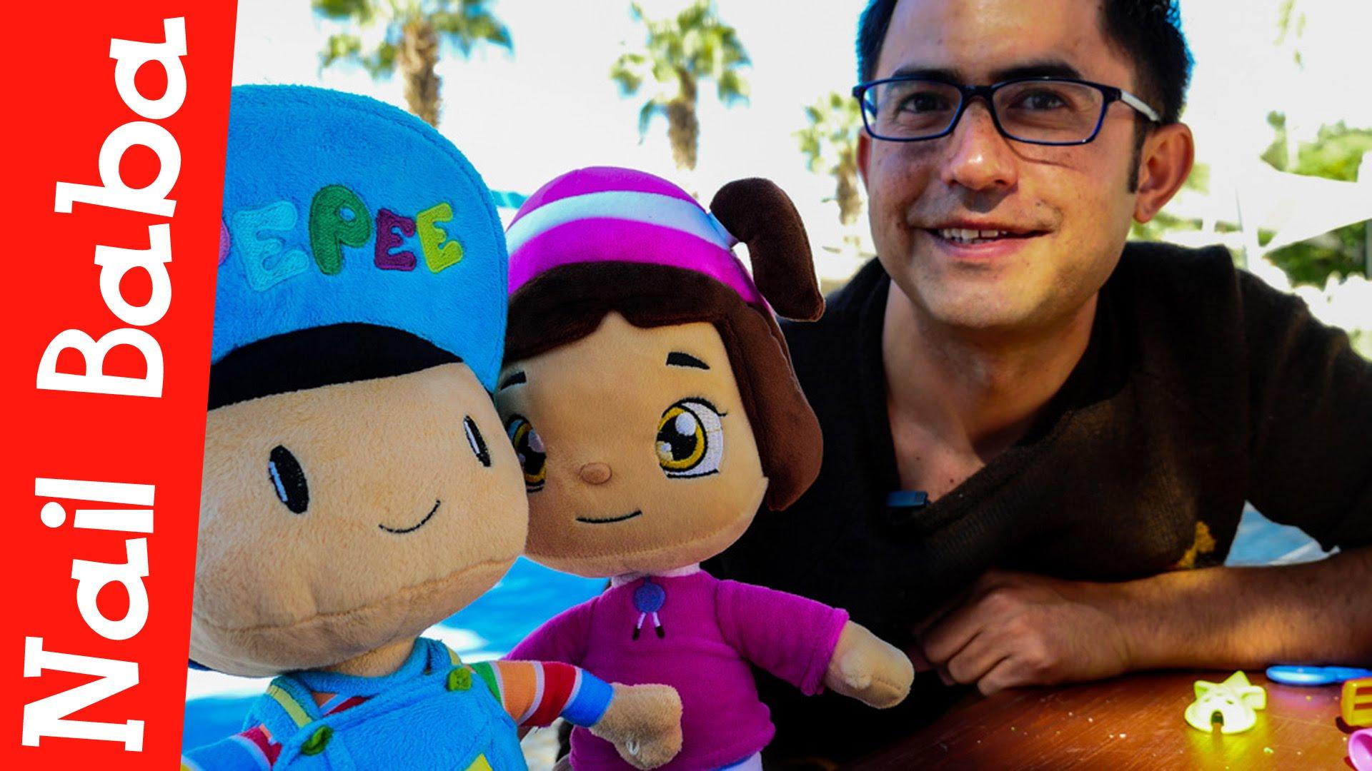 Nail Baba Pepee ve Leli ile çocuk parkında. Çizgi film oyuncakları. Çocuklar için video