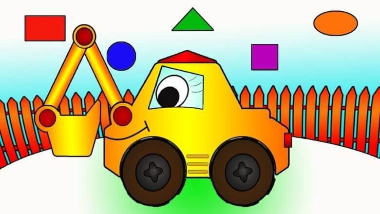 Neşeli Şekiller – İş arabaları – Ekskavatör – Eğitici eğlenceli Çizgi Film